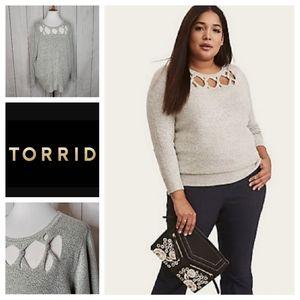 Torrid Slash Yoke Pullover Knit Sweater